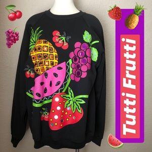 VINTAGE Kitschy Frenzied Fruit Jeweled Sweatshirt
